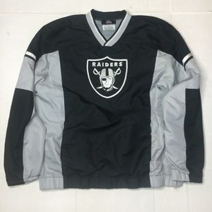 EUC MENS OAKLAND RAIDERS PULL OVER JACKET